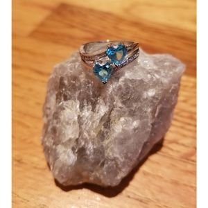 Jewelry - Simulated blue topaz double heart silver ring